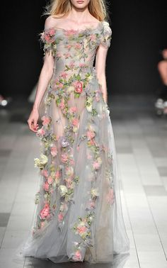 Embroidered Tulle Gown by MARCHESA for Preorder on Moda Operandi. Vestidos Fashion, Fashion Dresses, Beautiful Gowns, Beautiful Outfits, Evening Dresses, Prom Dresses, Tulle Gown, Fantasy Dress, Embroidery Dress