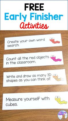 Use these FREE Early Finisher Activity Strips to keep your students busy when they are finished their work! These 18 cute cards are best for and grade! First Grade Freebies, Kindergarten Freebies, Teacher Freebies, Classroom Freebies, Kindergarten Activities, Teacher Resources, Teaching Ideas, School Resources, Classroom Ideas