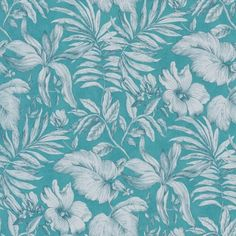 Jungle (DIX65157170) - Caselio Wallpapers - Lush jungle leaves and flowers, with a line drawn effect in a soft taupe colour on a bold Teal blue green background. Please request sample for true colour match.