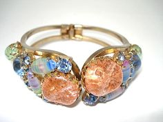 Pastel Art Glass Hinged Clamper Bracelet by KathysVintageJewels2, $57.00