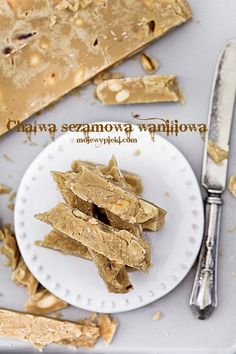 Chałwa sezamowa waniliowa | Moje Wypieki First Bite, Greek Recipes, Gluten Free, Sweets, Vegan, Ethnic Recipes, Desserts, Food, Landing Pages
