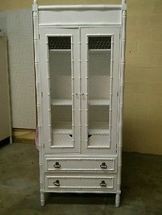 Vintage Faux Bamboo Armoire Tall Dresser Shabby White Michigan   eBay...295..MICH..81--19--32,5