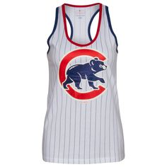 Chicago Cubs Women's White Pinstripe Glittering Crawl Bear Racer Back Tank Top by 5th & Ocean #Chicago #ChicagoCubs #Cubs