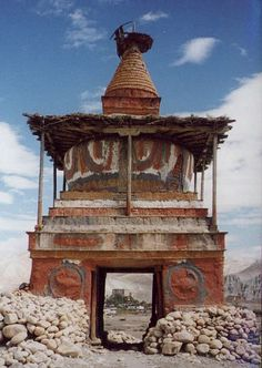 Chorten at entrance to Tsarang village. The village of Tsarang is just south of the walled town of Lo Monthang, the capital of the Kingdom of Mustang in North Western Nepal.