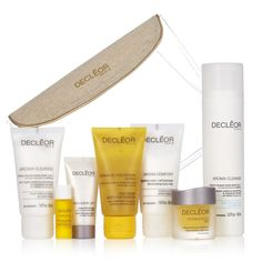 218929 Decleor 7 Piece Anti-Ageing Face Essentials QVC Price: £39.50 + P&P: £4.95 A gorgeous anti-ageing collection from Decleor including their brightening Hydra-Radiance Smoothing & Cleansing Mousse, revitalising Aromessence Iris Balm, plus their Anti-Ageing Discovery Kit featuring luxurious face and body products in handy travel sizes. Achieve a more youthful-looking complexion home or away with this must-have beauty collection to help target key signs of ageing.