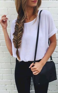 bag blouse white white blouse shirt sheer sheer blouse white top style cute pretty white t-shirt top bag black small t-shirt white tee fashion leggings tumblr black bag shoulder bag jeans black jeans braid hairstyles