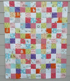 Munki flannel patchwork quilt top by janssendesigns, via Flickr
