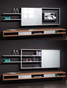 Clever Ways to Hide Your Television - The Architects Diary- Angeles Crespo Cuellar Tv Unit Design, Tv Wall Design, House Design, Living Room Tv, Home And Living, Living Spaces, Tv Escondida, Hidden Tv Cabinet, Casa Milano