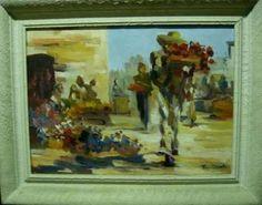 ** Obra De Arte De Marco Ernesto Vendedor De Flores $16,279.07 USD Venezuela Cuadros y Pinturas