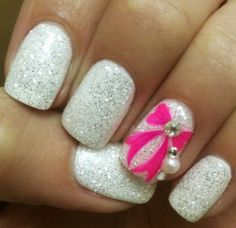pink-bow-rhinestone-white-shimmer-glitter-nails