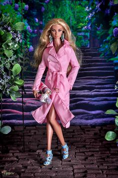 ELENPRIV pink trench coat full lining with tiny golden color buttons for Fashion royalty FR2 and similar body size dolls by elenpriv on Etsy