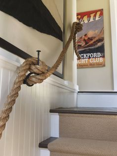 rope staircase; vintage, nautical signal flag.