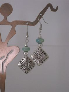Silver and Blue Green Beaded Earrings, Seafoam Green Beaded, Silver Beaded, Handmade Earrings, Womens Earring, Dangle Earring, Bead Earrings on Etsy, $10.00:
