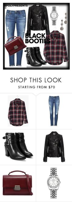 """""""Black Booties"""" by maya1705 ❤ liked on Polyvore featuring Madewell, AG Adriano Goldschmied, Nasty Gal, IRO, Yves Saint Laurent, Rolex and Lulu Frost"""