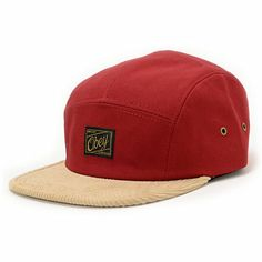 When ya can't decide on a color reach for the 2 tone Obey Halifax rust and khaki 5 panel hat. Move up the style ranks with the red rust hat body, khaki corduroy bill, gold and black Obey logo patch at the front, metal side eyelets, and a black adjustable plastic clip sizing piece.