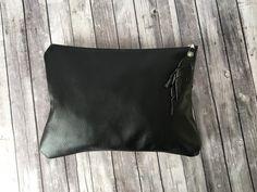 Black Leather Clutch / zwart lederen tas / Leather Clutch / lederen iPad Sleeve / zwart lederen hoes / lederen portemonnee / moeders Day Gift