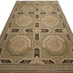 Hand-Woven Black Wool French Aubusson Flat Weave Rug New Free Shipping YKG-08