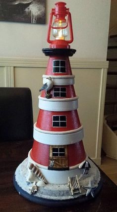 Clay pot lighthouse More dimitra kasimhWater & rocks at Best images about Terra Cotta Flower Pot Art, Clay Flower Pots, Flower Pot Crafts, Clay Pot Projects, Clay Pot Crafts, Diy Clay, Clay Pot Lighthouse, Lighthouse Decor, Flower Pot People