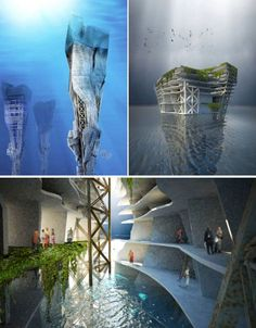 Imagine using massive underwater skyscrapers to filter all of the plastic and other debris from the Great Pacific Garbage Patch in the Pacific Ocean. The 'Lady Landfill Skyscraper' consists of three main functions: trash collectors at the bottom, a recycling plant in the center and housing and recreation above the surface of the sea. The waste would be heated in the recycling chamber and converted into a gas which could then be stored in huge battery-like structures and used as energy.