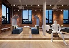 A trifecta of Quebec-based design companies - Artopex, Lemay and LumiGroup - have collaborated on a showroom which is characterized by local roots. Commercial Interior Design, Commercial Interiors, Innovative Office, Leed Certification, System Furniture, Showroom Design, Open Office, Interior Concept, Lounge Seating