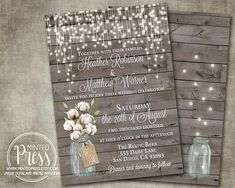 RSVP Wedding Card Cotton Mason Jar Rustic Gray Wood Country Barn String Fairy Lights Cream Digital File or Printed I customize for you Beautiful Wedding Invitations, Wedding Thank You, Wedding Cards, Wedding Arch Rustic, Mason Jar Lighting, Wedding Hair Flowers, Rustic Invitations, Fairy Lights, Celebrity Weddings