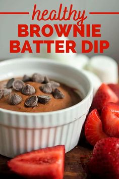 Healthy brownie batter dip is the ultimate treat when paired with fruit, graham crackers, or even marshmallows! This healthy dessert recipe only uses a few ingredients and comes together in under 5 minutes. You'll love this edible brownie batter.