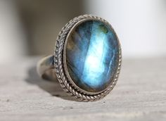Blue Labradorite Ring Sterling Silver Rainbow Moonstone – Yourgreatfinds
