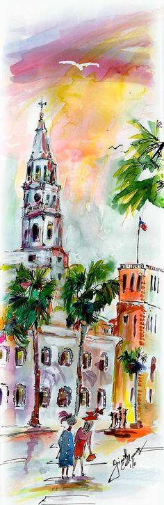 Charleston South Carolina Saint Michael's Church Watercolor Painting #watercolors #travelart #travel