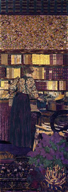jean-édouard vuillard(1868–1940), figures in an interior: choosing a book, 1896. distemper on canvas, 212 x 77 cm. musee du petit palais, paris, france