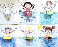 Summer Crafts For Toddlers, Easy Art For Kids, Toddler Crafts, Preschool Crafts, Summer Drawings, Art Drawings For Kids, Drawing For Kids, Kids Art Galleries, Kindergarten Art Lessons