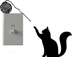 Cat Playing Yarn - Light Switch Decals - Custom Vinyl Wall Art - Made In USA
