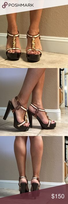 """Gorgeous Giuseppe Zanotti Platform Sandals! These beauties have heavy duty canvas straps adorned with gold pyramids. They have a high gloss wooden sole(which do have some nicks on them but are completely wearable). 4.5""""heel, 1.25"""" platform. They say size 39 and I'm going to say they fit like an 8.5. Trade value higher Guiseppe Zanotti Shoes"""
