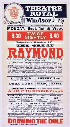 """""""The Great Raymond"""" Original 1913 Theatre Royal Broadside 