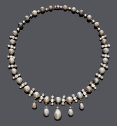 *** Wild savings on amazing jewelry at http://jewelrydealsnow.com/?a=jewelry_deals *** Natural pearl and diamond necklace, about 1900