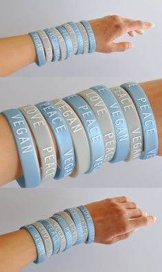 QUANTITY. . . . . ONE PACK = 3 WRISTBANDS = ( 2 Grey / 1 Blue ) SIZE . . . . . . . . . ADULT COLOR. . . . . . . .Grey / Blue / White Debossed Graphics MATERIAL . . . . .100 % RECYCLED RUBBER / SILICONE  ♥ SHIPPING TIME: : Item(s) will be shipped about 1 – 2 weeks after completed purchase. : If you are purchasing clothing along with the bracelets, it will take about 4 - 6 weeks. : Since Jan 2013, international shipping increased ~50%, so my shipping is higher too...
