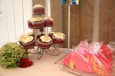 red velvet cupcakes and stiletto cookies were perfect for the themed birthday brunch.