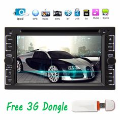 Free 3G dongle Built-in GPS Navigator Car Radio DVD Player In Dash Double 2DIN Car Stereo Player with Bluetooth supports iPod #Affiliate