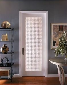 Interior glass door design ~ love the wall color Prehung Interior French Doors, Frosted Glass Interior Doors, Frosted Glass Door, Glass French Doors, Kitchen Glass Doors, Reeded Glass, Bedroom Doors, Bedroom Closets, Internal Doors