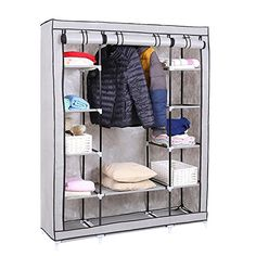 This portable closet is great for seasonal storage and ideal as an extra space for hanging or folding clothing.