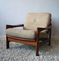 Midcentury ARMCHAIR teak & oatmeal cushions vintage retro armchair mad men | eBay