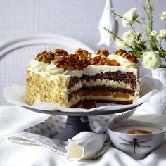 Walnuss-Vanillecreme-Torte mit Karamellsplittern Rezept   LECKER