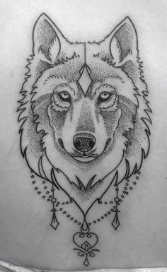 This one is really nice because it's a wolf and it's drawn in pencil and shaded. #WolfTattooIdeas