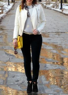 See What Katie Wears: Saturday Look in the Park: Catherine Malandrino Quilted Jacket, LC Lauren Conrad Fuzzy Polka Dot Sweater and Velveteen Pants, Yellow Bag