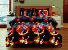 2 Piece Box Stitched 3d Burning Strings Guitar Prints Faux Fur Comforter Set D09 Twin -- Details can be found by clicking on the image.