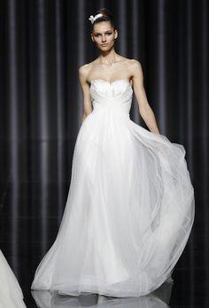 Brides.com: . Strapless organza A-line wedding dress with a sweetheart neckline, Pronovias