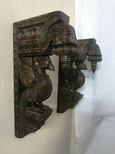 Details about Wall Wooden Bracket Bird Sculpted Corbel Pair Vintage Peacock Statue Home Decor [post_tags Indian Home Interior, Indian Home Decor, Wooden Brackets, Pooja Room Door Design, Temple Design, Puja Room, Round Mirrors, Antique Photos, Cheap Home Decor