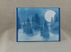 Blue Forest Moonscape Holiday Card by CedarStreetCardShop on Etsy Blue Forest, Peace On Earth, White Envelopes, Greeting Cards Handmade, Watercolor Paper, Hand Stamped, Holiday Cards, Card Stock, Handmade Items