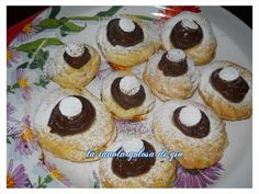 Zeppole al forno con crema al cacao