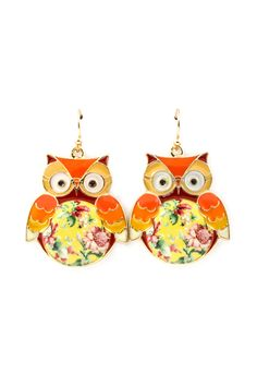 Shabby Chic Owl Earrings in French Country