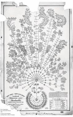 "19th-Century Org Chart  ""The New York & Erie Railroad Diagram Representing A Plan Of Organization Exhibiting The Division Of Administrative Duties And Showing The Number And Class Of Employés Engaged In Each Department From The Returns Of September 1855."""